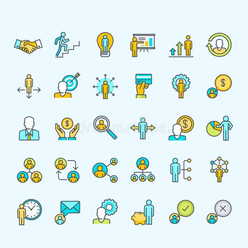 Set kreskowi kolor ikon dla biznesu i finanse ludzie ilustracja wektor