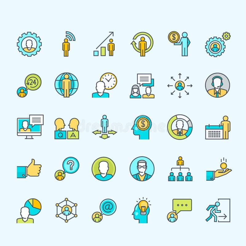 Set kreskowi kolor ikon dla biznesu i finanse ludzie ilustracji