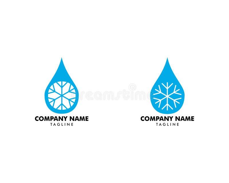 Set A kropla woda z płatek śniegu ikoną, wody kropli znak, wody kropla z płatek śniegu logo ilustracja wektor