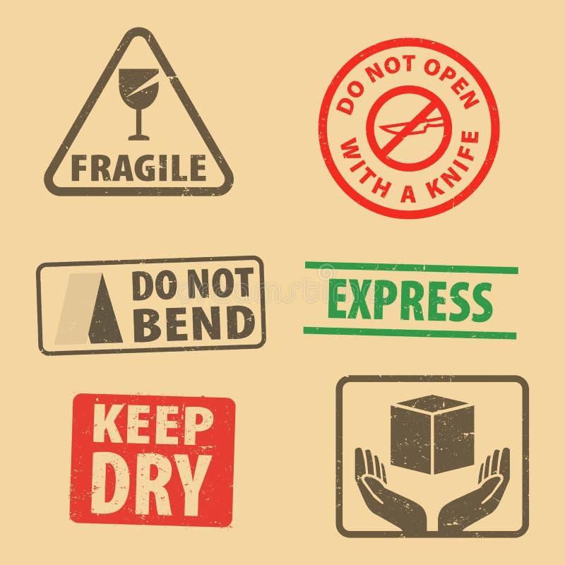Set kruchy majcher utrzymuje suchy i skrzynki ikona pakuje symbole podpisuje, krucha i Ekspresowa pieczątka na kartonowym tle, v ilustracji