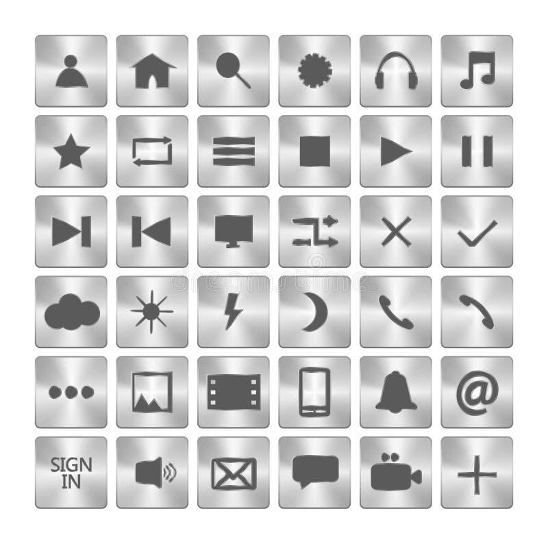 Set kruszcowe ikony Metali guziki w kwadratach również zwrócić corel ilustracji wektora royalty ilustracja