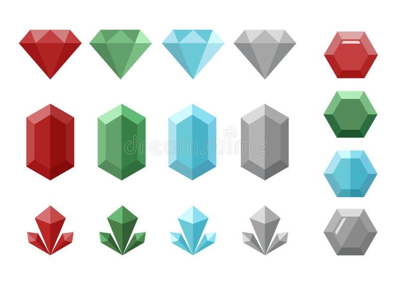 Set kryształy lub diamenty z cztery różnymi kolorami i formami royalty ilustracja