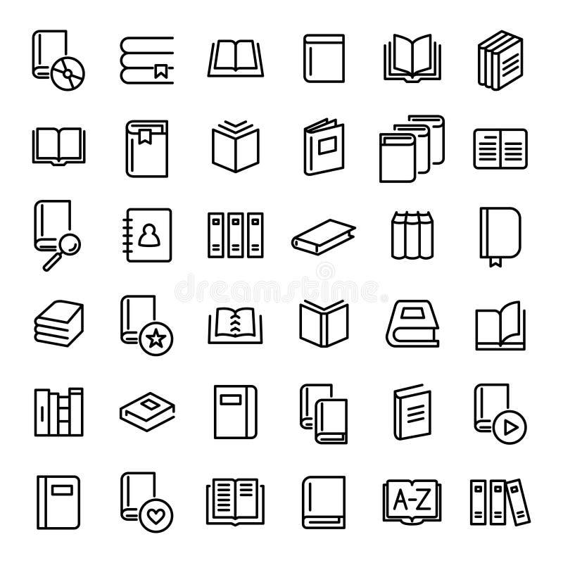 Set 36 książek cienkich kreskowych ikon ilustracja wektor