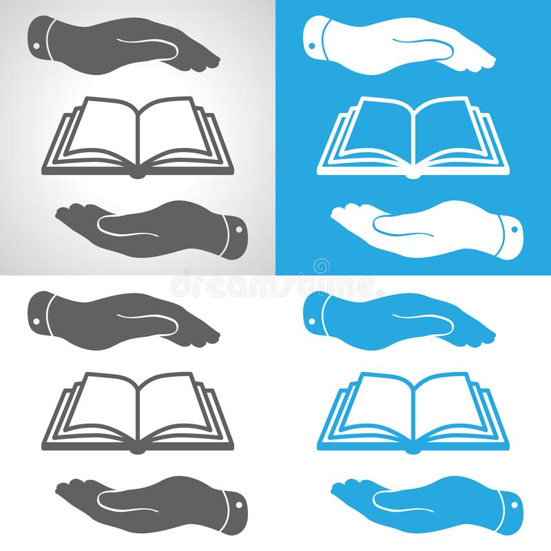 set książkowa ikona w płaskich rękach royalty ilustracja