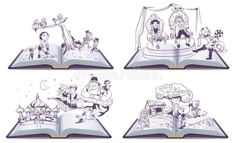 Set książkowej ilustraci bajki Otwarta opowieść Pinocchio, Cipollino, Alladin i Puss w butach, royalty ilustracja