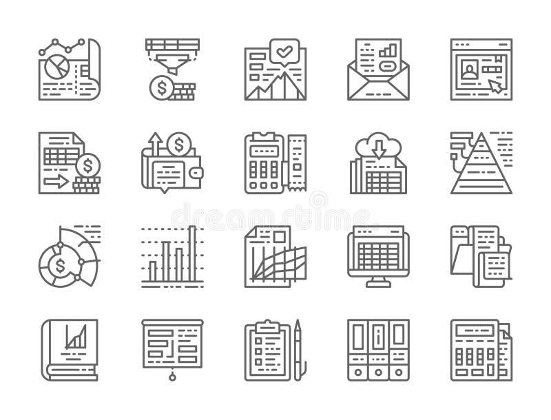 Set księgowość raportu linii ikony Prezentacja, konto bankowe, życiorys i więcej, ilustracji