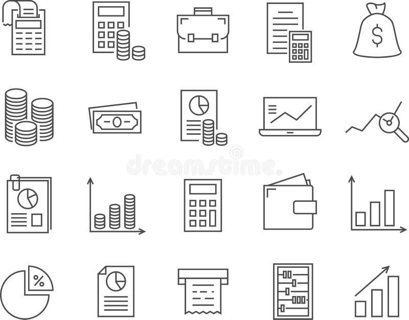 Set księgowości linii wektoru ikony obraz royalty free