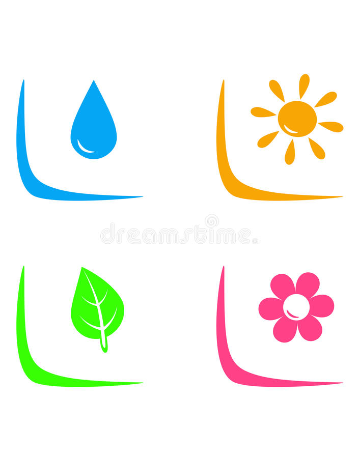 Set kształtować teren podpisuje z kroplą, kwiatem, słońcem i liściem wody, ilustracja wektor