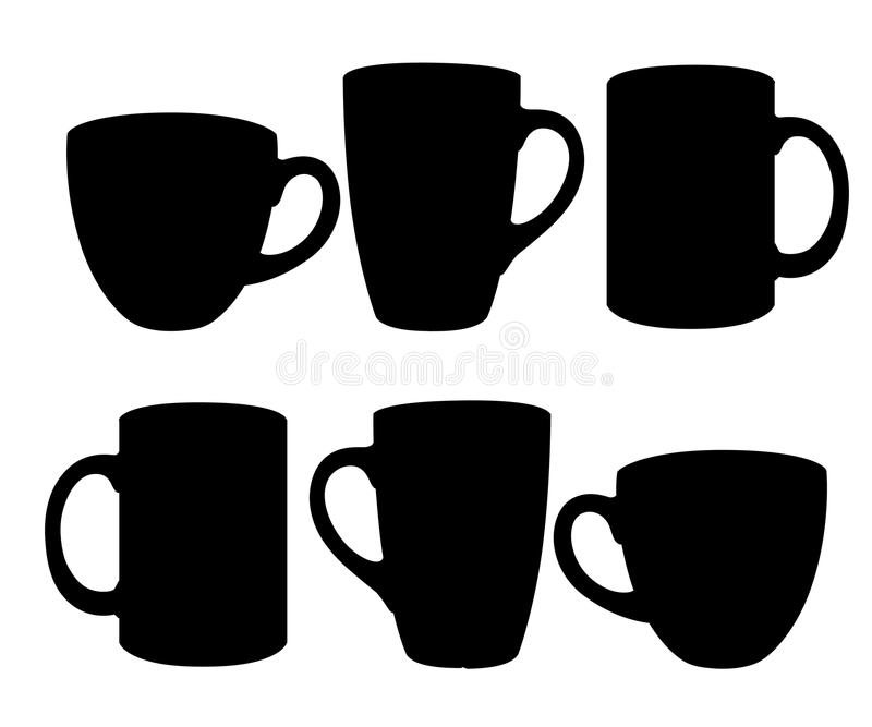 Set kubek sylwetek czarni znaki dla projekta loga filiżanki ilustraci na białym tle i symbole royalty ilustracja