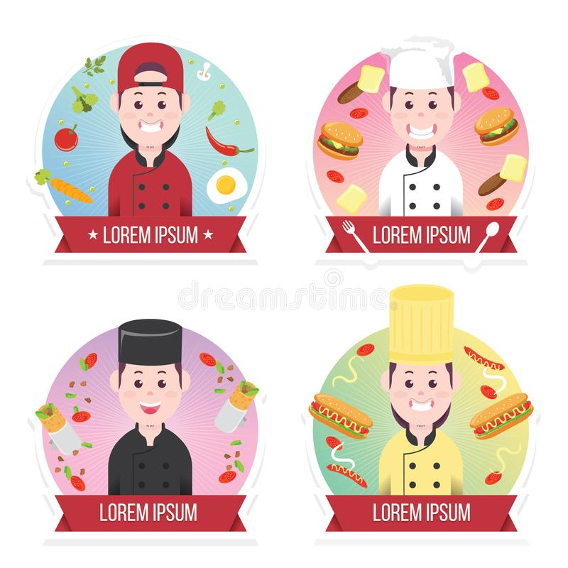 Set kucbarski avatar profil, kucharzi munduruje, kucharzów szefowie kuchni, szefowie kuchni odizolowywający, kucharzów ludzie, za ilustracji