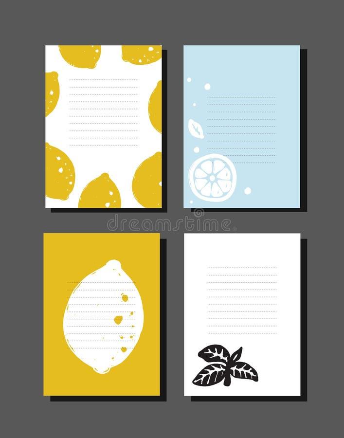 Set kucharstwo notatki z ręka rysującą ilustracją cytryny i basil ilustracja wektor