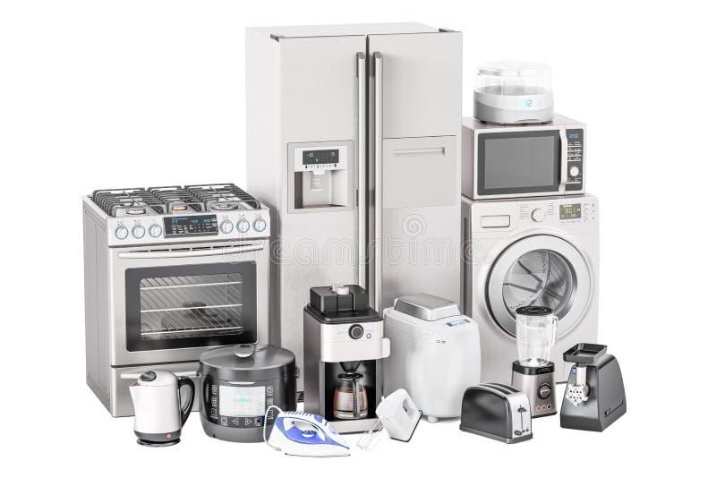 Set kuchenni domowi urządzenia Opiekacz, pralka, fridge ilustracji