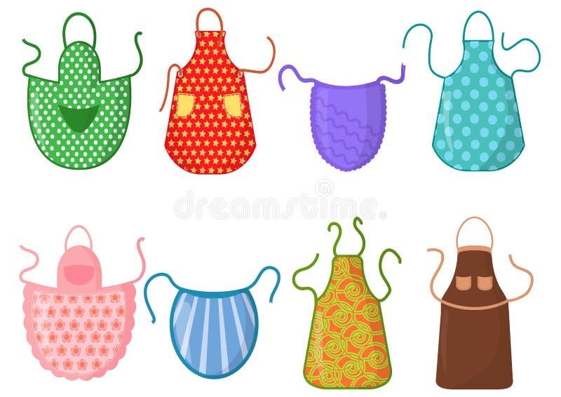 Set kuchenni fartuchy z wzorami odizolowywającymi na białym tle Ochronna szata Kulinarna suknia dla gospodyni domowej lub ilustracji