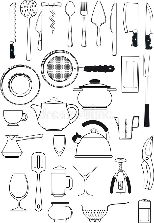 Set kuchenni naczynia ilustracja wektor