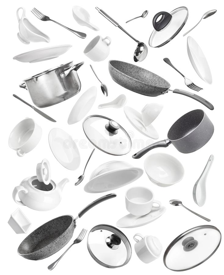 Set kuchenni naczynia: garnki, niecki, talerze, rozwidlenia, noże ilustracja wektor