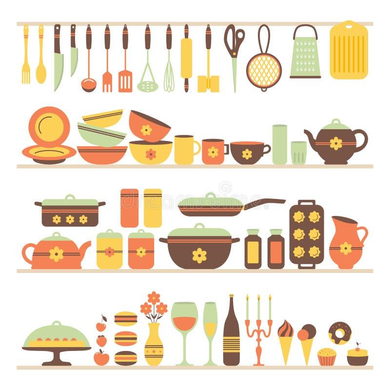 Set kuchenni naczynia i jedzenie ilustracji