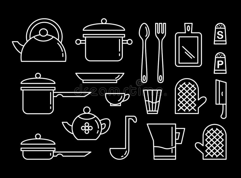 Set kuchennych naczy? sztuki liniowa ikona Kolekcja ilustracje ilustracji