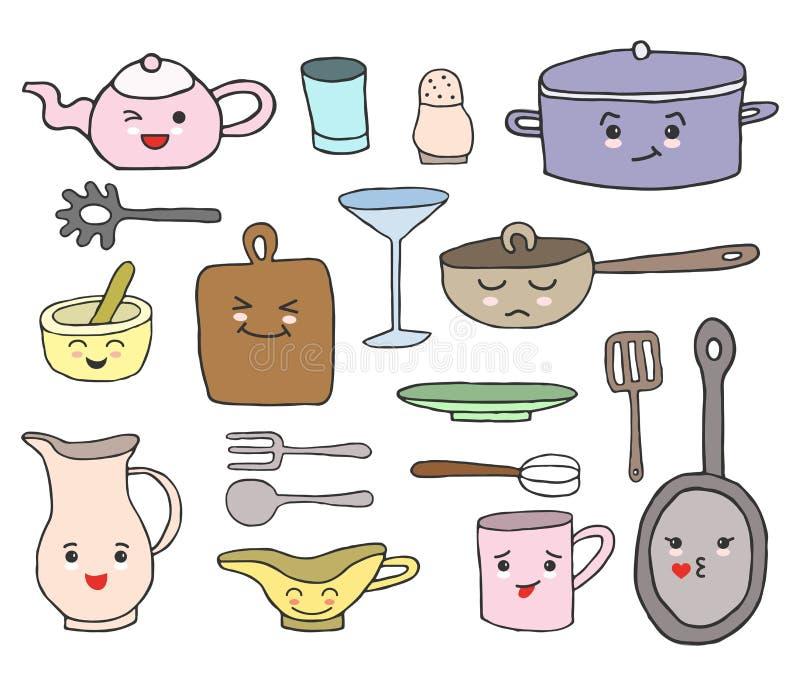 Set kuchni narzędzia z kreskówki kawaii stawia czoło i różne emocje ilustracja wektor