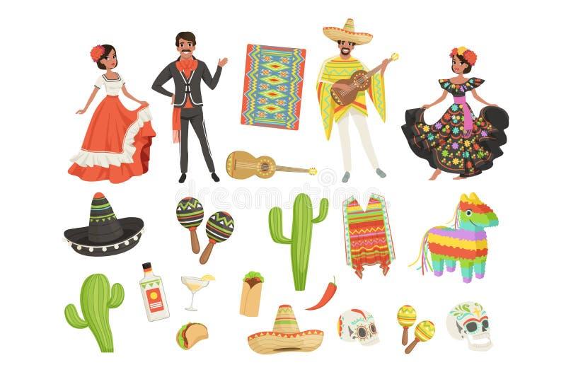 Set kulturalni symbole Meksyk Sombrero, kaktus, poncho, marakasy, taco, pinata, gitara, czaszka Latynoski mężczyzna i kobieta ilustracji