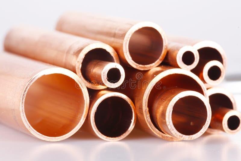 Set kupferne Rohre stockbilder