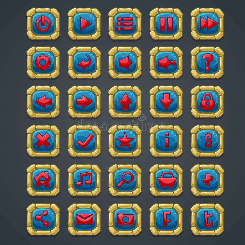 Set kwadrat zapina z kamiennymi elementami i symbolami dla sieci gier komputerowych i interfejsu royalty ilustracja