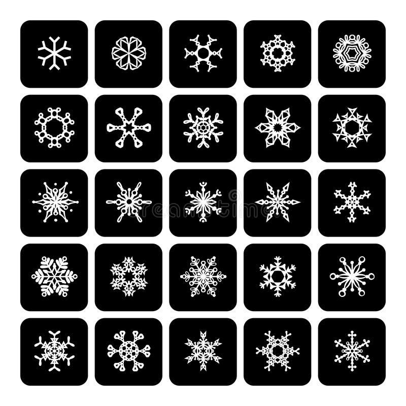 Set kwadratowe czarny i biały płatek śniegu ikony na bielu royalty ilustracja