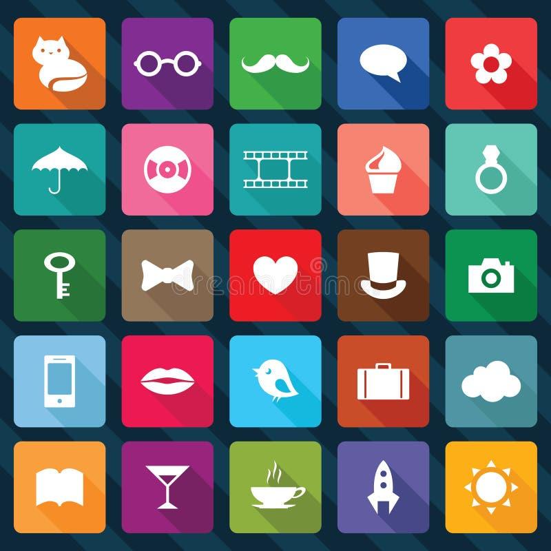 Set Kwadratowe Ikony Obrazy Stock