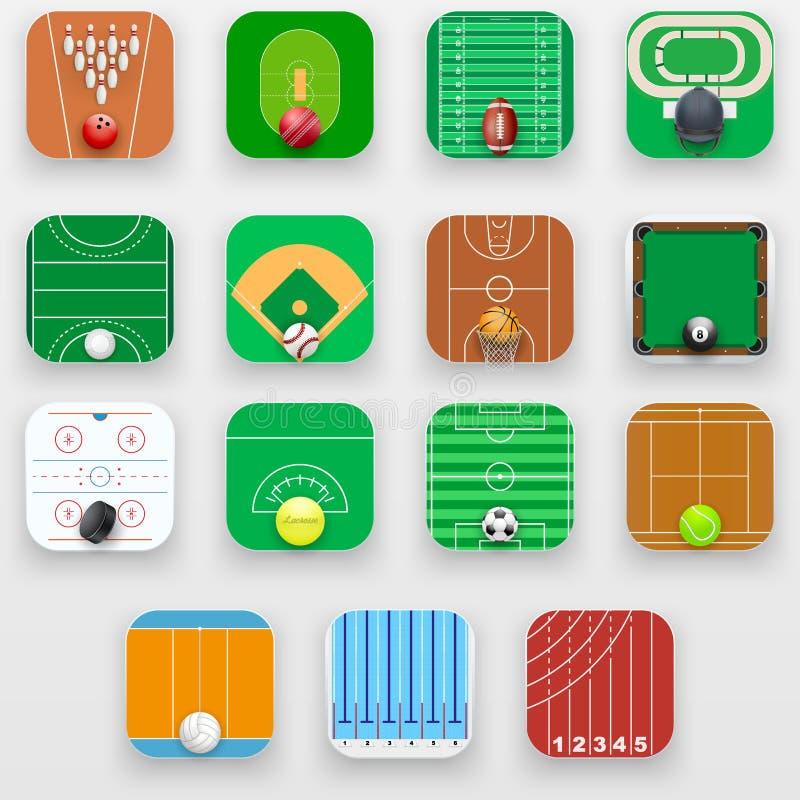 Set Kwadratowe ikony z sporta pola końcówki wyposażeniem royalty ilustracja