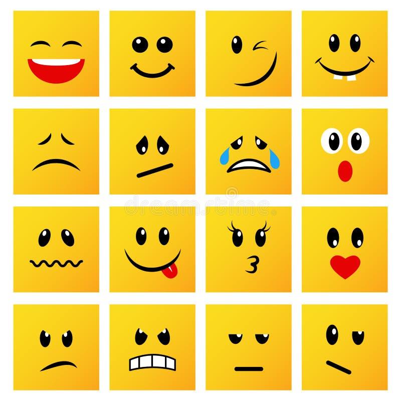 Set kwadratowi żółci emoticons i emojis ilustracji