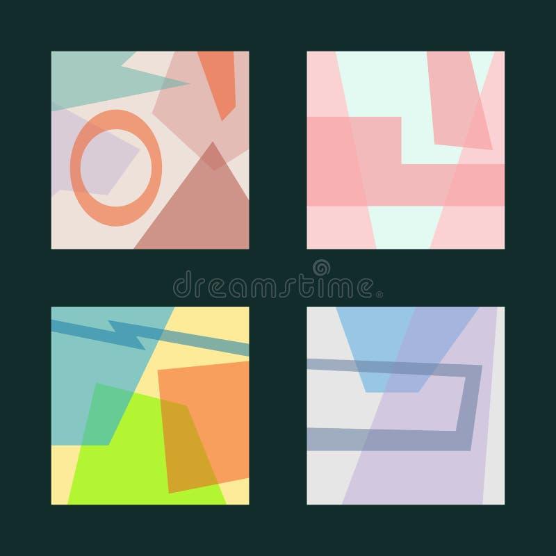 Set kwadratowi eleganccy tła z nierównymi geometrycznymi kształtami ilustracja wektor