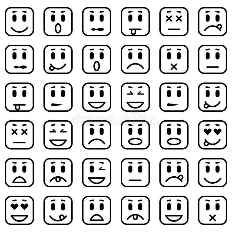 Set Kwadratowi emoticons ilustracji