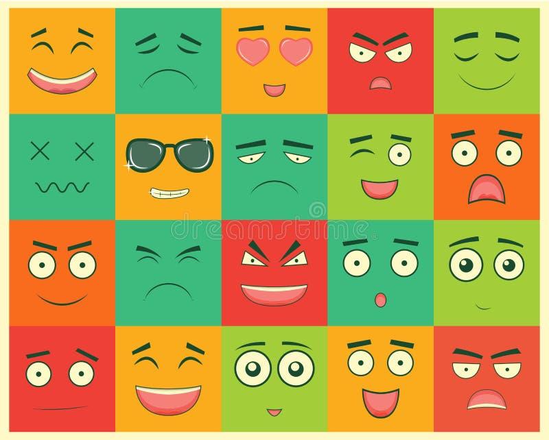 Set Kwadratowi emoticons Emoticon dla strony internetowej, gadka, sms wektor royalty ilustracja