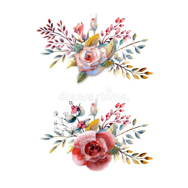 Set kwiat gałąź Menchii róży kwiat, zieleni liście, czerwień Ślubny pojęcie z kwiatami Kwiecisty plakat, zaproszenie zdjęcie stock