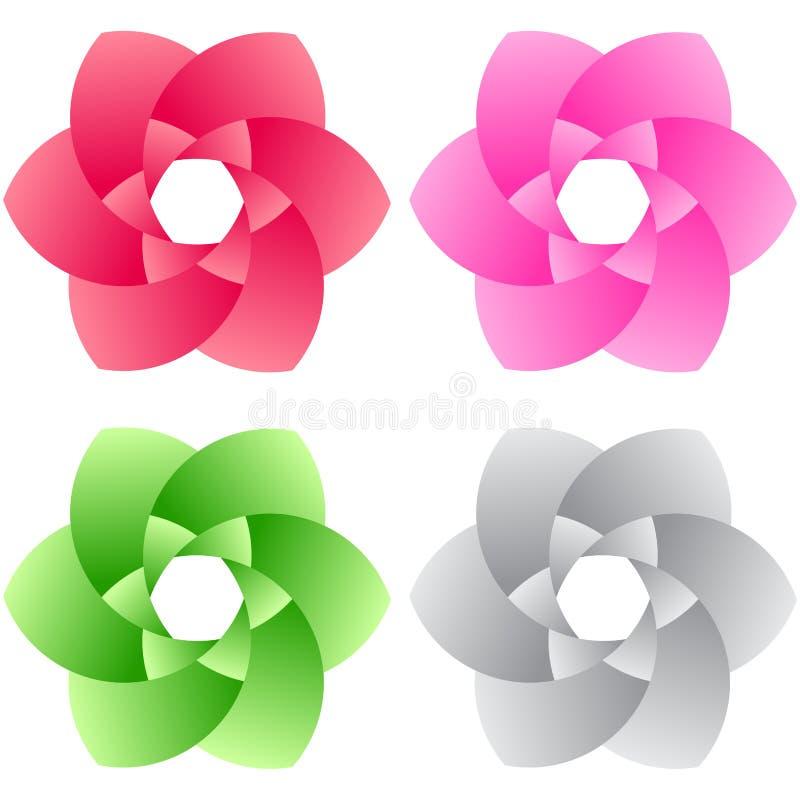Set kwiatu loga elementy ilustracja wektor