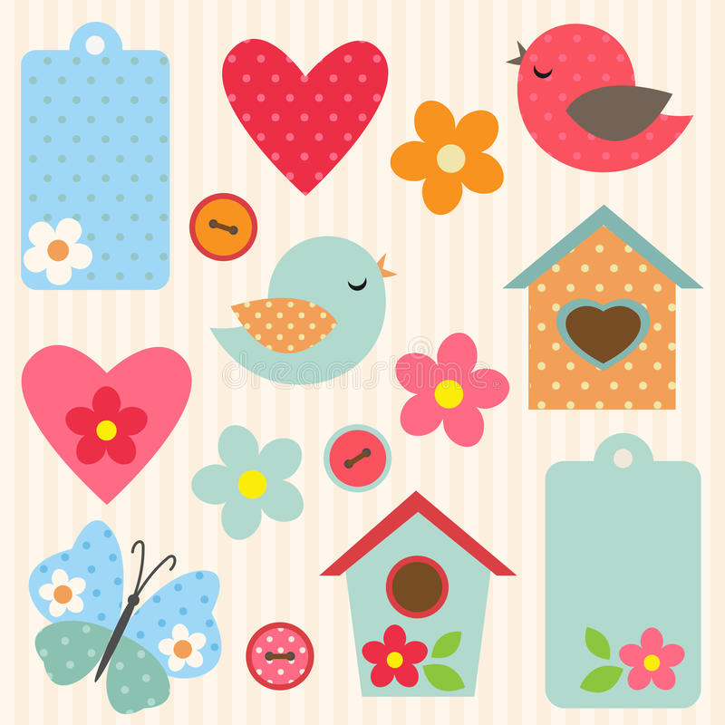 Set kwiaty i ptaki ilustracja wektor