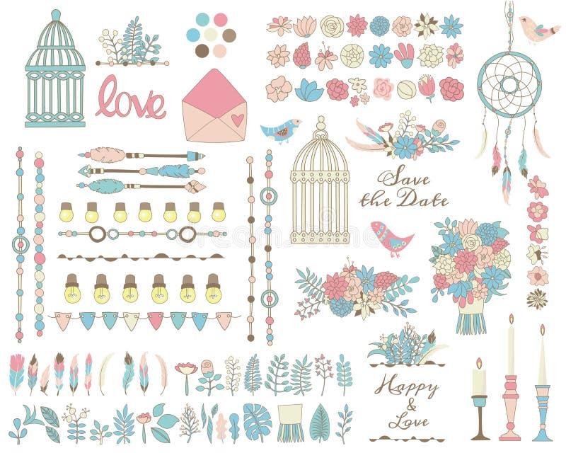 Set kwiaty, liście, piórka różowi, zieleń i błękitów kolory ilustracja wektor