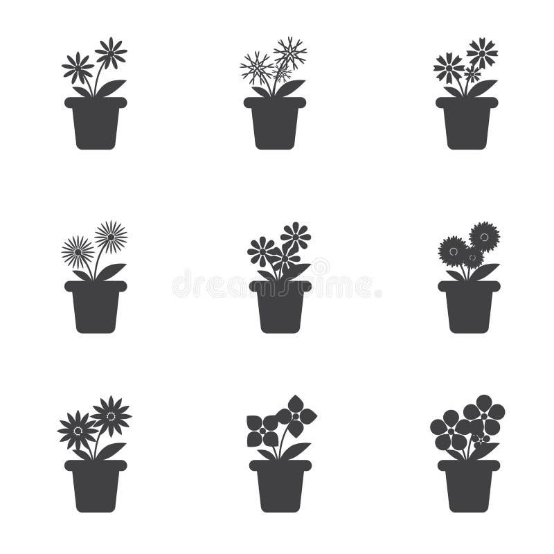 Set kwiaty w garnek ikonie obraz royalty free
