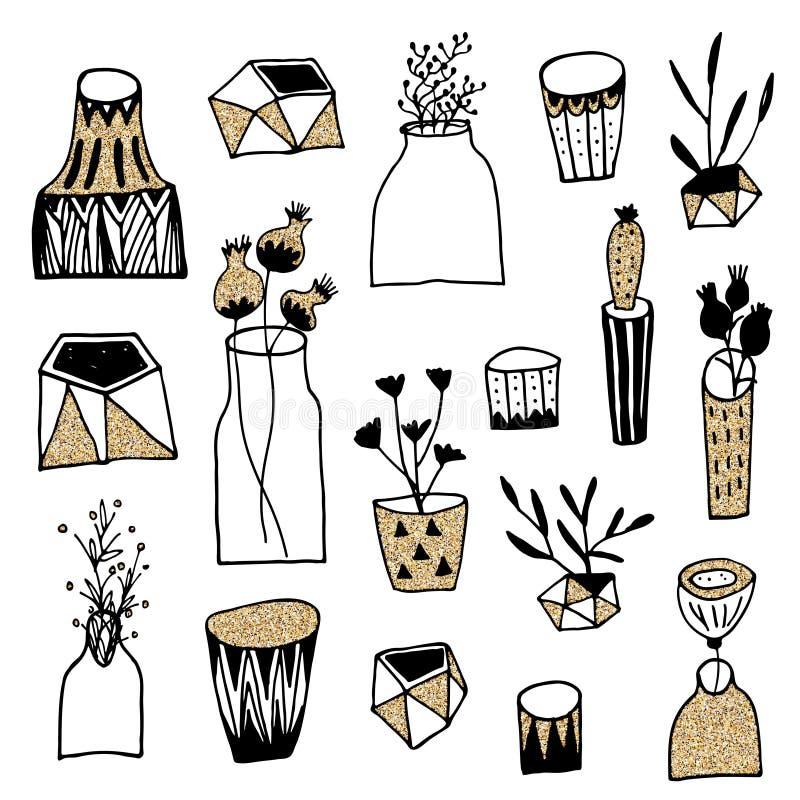 Set kwiaty w wazie z złocistą błyskotliwości teksturą Używać dla walentynek Urodzinowych kart lub dnia fotografia stock