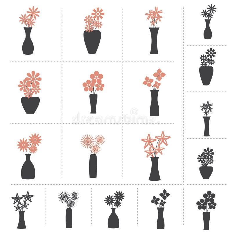 Set kwiaty w Wazowej kolekci zdjęcie stock