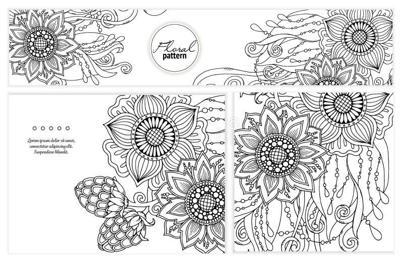 Set kwiecista karta Ręka rysująca grafika z abstrakcjonistycznymi kwiatami ilustracji