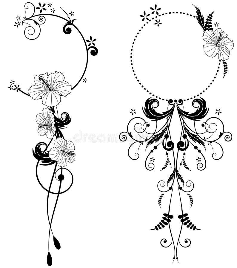 Set kwiecista rama z poślubnikiem ilustracja wektor