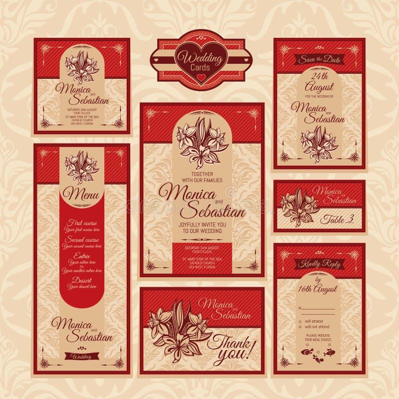 Set kwieciste ślubne karty royalty ilustracja