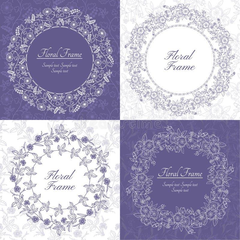 Set kwieciste eleganckie ramy ilustracji