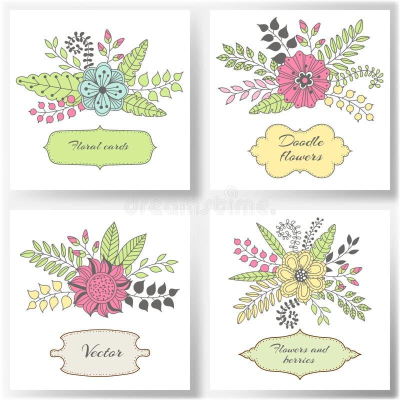 Set kwieciste wektor karty z kolorowymi kwiatami, liście ilustracja wektor