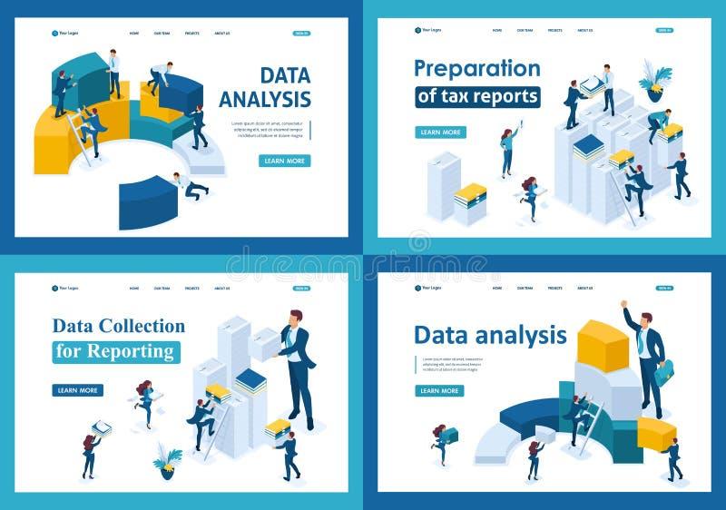 Set lądowanie strony w isometric pojęciu Dane reportaż dla podatek form i kolekcja ilustracji