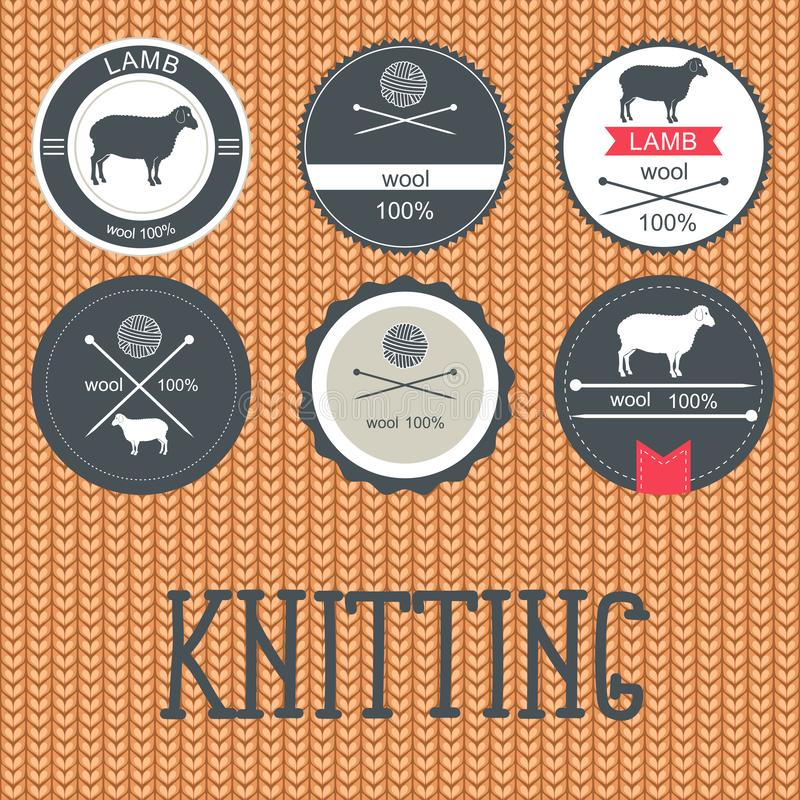 Set of labels, badges and design elements.Knitted wool texture. Seamless Background. knitted seamless fabric.  royalty free illustration
