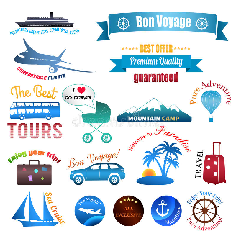 Set of labels, badges and stickers on travel royalty free illustration