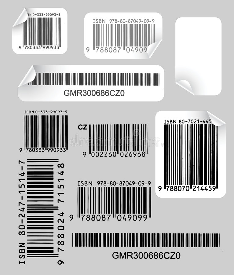 Set of labels with bar codes vector illustration