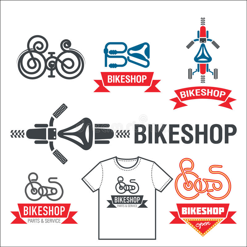 Set of labels for a bicycle shop. stock images