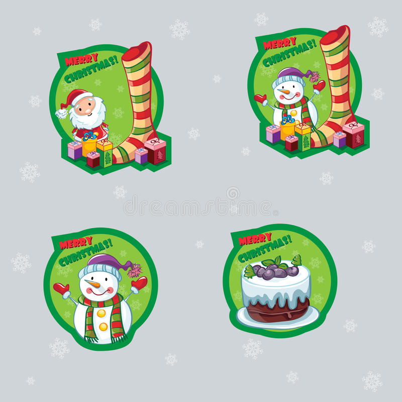 Set Of Labels For Christmas With A Snowman, Santa Claus And Cake Stock Vector